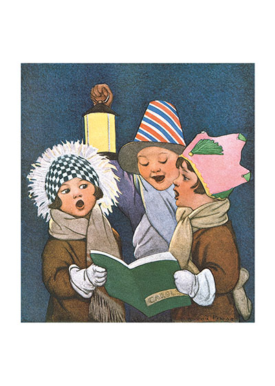 Christmas Carolers These prints are made at our location in Seattle, WA. They have a thick, white backing board and are sealed in clear bags. Each is suitable for framing at 11 inches x 14 inches or can be used as is for wall display. Our goal is to bring back to life these wonderful illustrations from old-fashioned, children's books and from early advertising art.