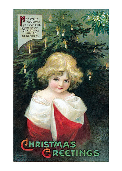 A Little Girl In Christmas Finery | Children Enjoying Christmas Greeting Cards