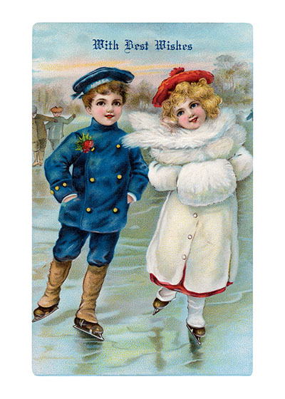 A Boy and A Girl Skating - Best Wishes at Christmas  BLANK INSIDE  Our blank notecards are custom printed at our location in Seattle, WA. They come bagged with an envelope. We love illustration art from old children's books and early, printed ephemera. These cards reflect this interest in bringing delightful art back to life.