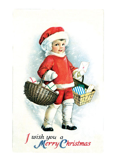 Santa's Little Helper  BLANK INSIDE  Our blank notecards are custom printed at our location in Seattle, WA. They come bagged with an envelope. We love illustration art from old children's books and early, printed ephemera. These cards reflect this interest in bringing delightful art back to life.