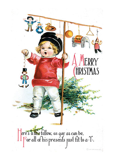 A Boy With Christmas Toys  BLANK INSIDE  Our blank notecards are custom printed at our location in Seattle, WA. They come bagged with an envelope. We love illustration art from old children's books and early, printed ephemera. These cards reflect this interest in bringing delightful art back to life.