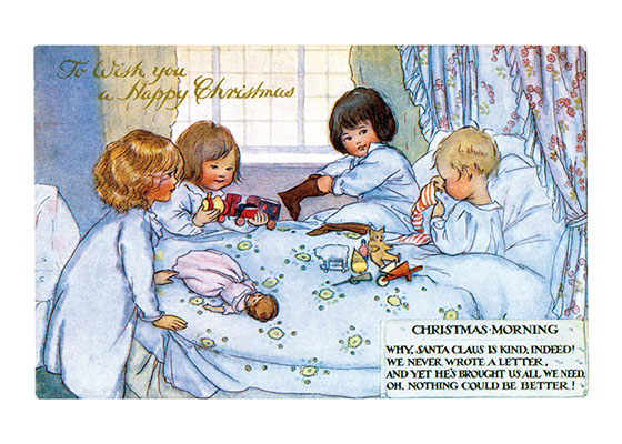 "Children Opening Their Christmas Stockings | Children Enjoying Christmas Greeting Cards ""Were you allowed to open your stockings the moment you woke up on Christmas morning?  These children are. In addition to giving joy to the chlldren, it lets the parents sleep a little longer!"