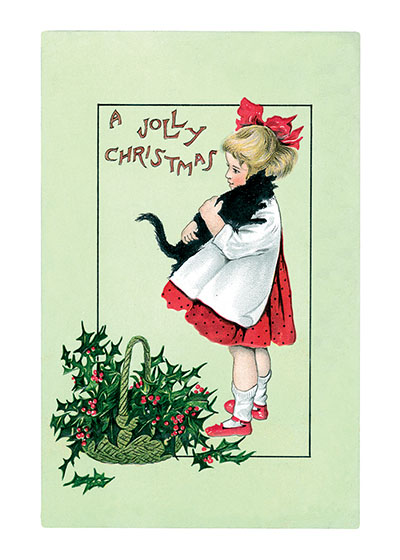 Girl and Black Cat A Jolly Christmas  BLANK INSIDE  Our blank notecards are custom printed at our location in Seattle, WA. They come bagged with an envelope. We love illustration art from old children's books and early, printed ephemera. These cards reflect this interest in bringing delightful art back to life