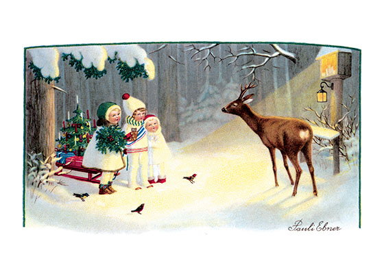 Children Feeding Animals in the Winter  BLANK INSIDE  Our blank notecards are custom printed at our location in Seattle, WA. They come bagged with an envelope. We love illustration art from old children's books and early, printed ephemera. These cards reflect this interest in bringing delightful art back to life