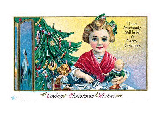 "Christmas Tea With Toys | Children Enjoying Christmas Greeting Cards ""Our blank notecards are custom printed at our location in Seattle, WA. They come bagged with an envelope. We love illustration art from old children's books and early, printed ephemera. These cards reflect this interest in bringing delightful art back to life."""