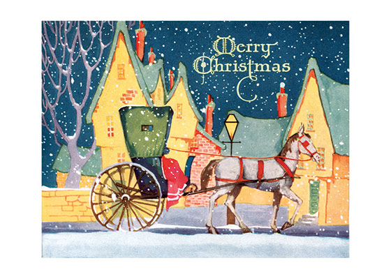 Christmas Carriage  BLANK INSIDE  Our blank notecards are custom printed at our location in Seattle, WA. They come bagged with an envelope. We love illustration art from old children's books and early, printed ephemera. These cards reflect this interest in bringing delightful art back to life