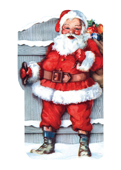 Santa Opening a Gate  BLANK INSIDE  Our blank notecards are custom printed at our location in Seattle, WA. They come bagged with an envelope. We love illustration art from old children's books and early, printed ephemera. These cards reflect this interest in bringing delightful art back to life