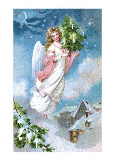 Angel Flying with a Small Christmas Tree  We can understand why his lovely image of an angel bringing a Christmas has long been a favorite with our customers.  It was taken from an antique postcard and the beautiful subtle colors are a testiment to the anonymous but obviously highly skilled lithographer who made it.  Our blank notecards are custom printed at our location in Seattle, WA. They come bagged with an envelope. We love illustration art from old children's books and early, printed ephemera. These cards reflect this interest in bringing delightful art back to life.