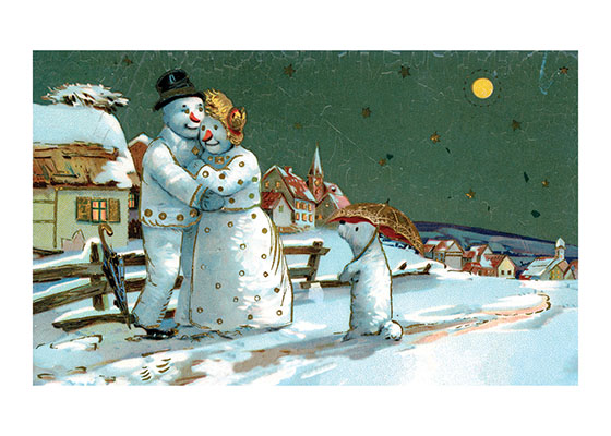 Snow Family on a Winter Night | Snowmen Christmas Art Prints These prints are made at our location in Seattle, WA. They have a thick, white backing board and are sealed in clear bags. Each is suitable for framing at 11 inches x 14 inches or can be used as is for wall display. Our goal is to bring back to life these wonderful illustrations from old-fashioned, children's books and from early advertising art.