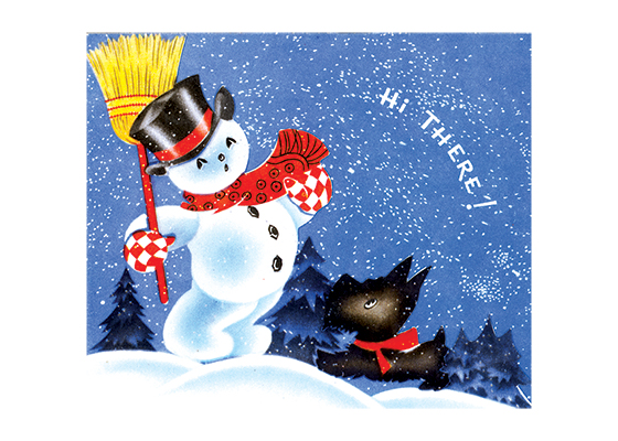 Snowman and a Scottie Dog  BLANK INSIDE  Our blank notecards are custom printed at our location in Seattle, WA. They come bagged with an envelope. We love illustration art from old children's books and early, printed ephemera. These cards reflect this interest in bringing delightful art back to life