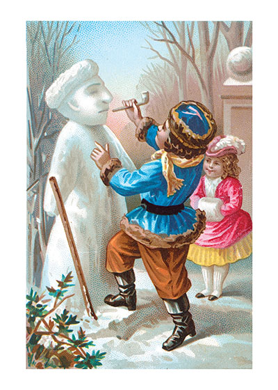Victorian Children Building a Snowman These prints are made at our location in Seattle, WA. They have a thick, white backing board and are sealed in clear bags. Each is suitable for framing at 11 inches x 14 inches or can be used as is for wall display. Our goal is to bring back to life these wonderful illustrations from old-fashioned, children's books and from early advertising art.