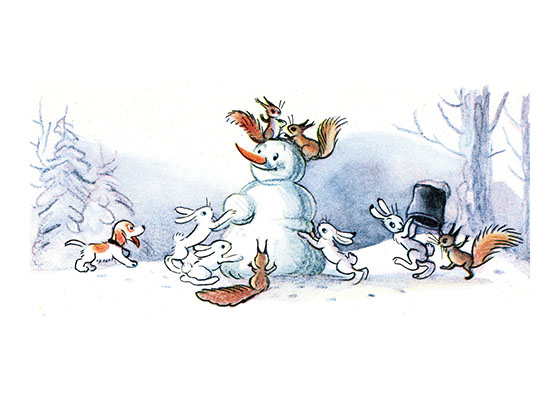 Animals Building a Snowman | Snowmen Christmas Art Prints These prints are made at our location in Seattle, WA. They have a thick, white backing board and are sealed in clear bags. Each is suitable for framing at 11 inches x 14 inches or can be used as is for wall display. Our goal is to bring back to life these wonderful illustrations from old-fashioned, children's books and from early advertising art.