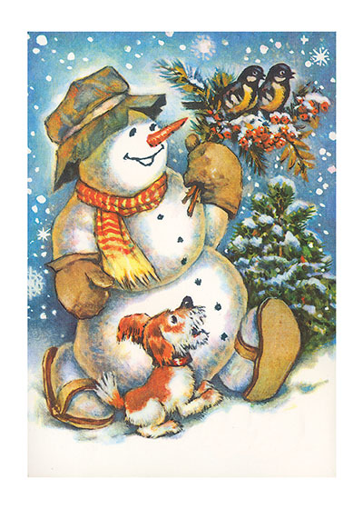 Snowman with Birds and a Dog  BLANK INSIDE  Our blank notecards are custom printed at our location in Seattle, WA. They come bagged with an envelope. We love illustration art from old children's books and early, printed ephemera. These cards reflect this interest in bringing delightful art back to life