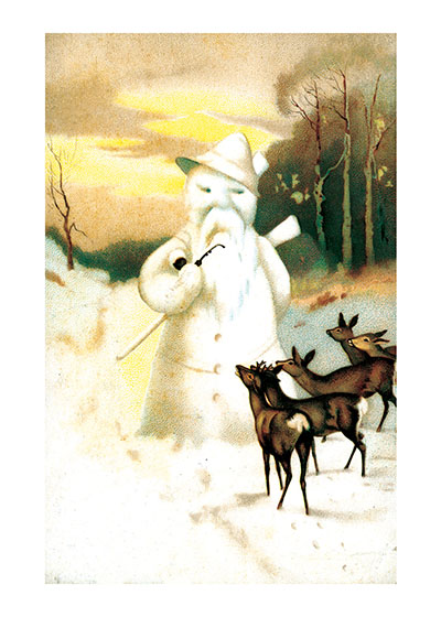 Deer Looking at a Snowman  BLANK INSIDE  Our blank notecards are custom printed at our location in Seattle, WA. They come bagged with an envelope. We love illustration art from old children's books and early, printed ephemera. These cards reflect this interest in bringing delightful art back to life