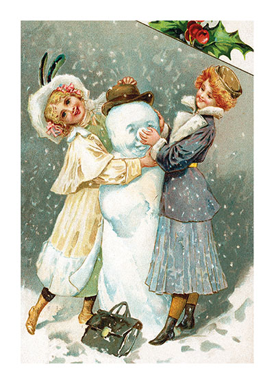 Victorian Girls Making a Snowman These prints are made at our location in Seattle, WA. They have a thick, white backing board and are sealed in clear bags. Each is suitable for framing at 11 inches x 14 inches or can be used as is for wall display. Our goal is to bring back to life these wonderful illustrations from old-fashioned, children's books and from early advertising art.