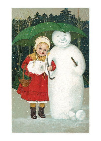 Girl With Snowman and Umbrella These prints are made at our location in Seattle, WA. They have a thick, white backing board and are sealed in clear bags. Each is suitable for framing at 11 inches x 14 inches or can be used as is for wall display. Our goal is to bring back to life these wonderful illustrations from old-fashioned, children's books and from early advertising art.