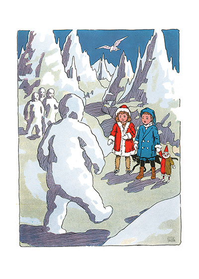 Children Encounter Snowman These prints are made at our location in Seattle, WA. They have a thick, white backing board and are sealed in clear bags. Each is suitable for framing at 11 inches x 14 inches or can be used as is for wall display. Our goal is to bring back to life these wonderful illustrations from old-fashioned, children's books and from early advertising art.