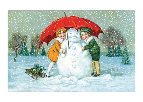 Children With Snowman And Umbrella  These prints are made at our location in Seattle, WA. They have a thick, white backing board and are sealed in clear bags. Each is suitable for framing at 11 inches x 14 inches or can be used as is for wall display. Our goal is to bring back to life these wonderful illustrations from old-fashioned, children's books and from early advertising art.