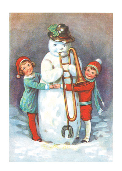 Children and a Snowman with a Trombone | Snowmen Christmas Art Prints These prints are made at our location in Seattle, WA. They have a thick, white backing board and are sealed in clear bags. Each is suitable for framing at 11 inches x 14 inches or can be used as is for wall display. Our goal is to bring back to life these wonderful illustrations from old-fashioned, children's books and from early advertising art.