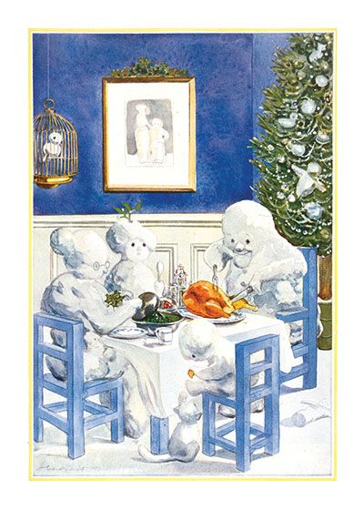 "Snowfamily Christmas Dinner | Snowmen Christmas Art Prints ""These prints are made at our location in Seattle, WA. They have a thick, white backing board and are sealed in clear bags. Each is suitable for framing at 11 inches x 14 inches or can be used as is for wall display. Our goal is to bring back to life these wonderful illustrations from old-fashioned, children's books and from early advertising art."""