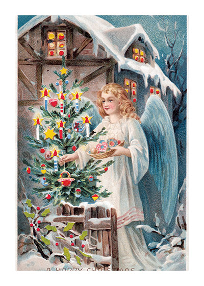 Angel Decorating a Christmas Tree  BLANK INSIDE  Our blank notecards are custom printed at our location in Seattle, WA. They come bagged with an envelope. We love illustration art from old children's books and early, printed ephemera. These cards reflect this interest in bringing delightful art back to life