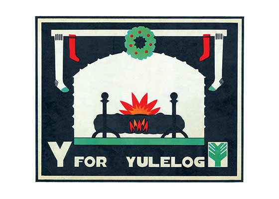 Y is for Yule Log  BLANK INSIDE  Our blank notecards are custom printed at our location in Seattle, WA. They come bagged with an envelope. We love illustration art from old children's books and early, printed ephemera. These cards reflect this interest in bringing delightful art back to life