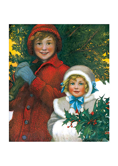 Girls With Christmas Greenery | Children Enjoying Christmas Greeting Cards Our blank notecards are custom printed at our location in Seattle, WA. They come bagged with an envelope. We love illustration art from old children's books and early, printed ephemera. These cards reflect this interest in bringing delightful art back to life.
