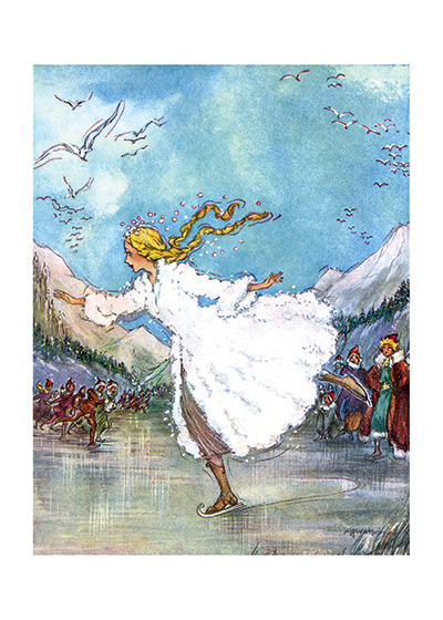 Skating on the Pond These prints are made at our location in Seattle, WA. They have a thick, white backing board and are sealed in clear bags. Each is suitable for framing at 11 inches x 14 inches or can be used as is for wall display. Our goal is to bring back to life these wonderful illustrations from old-fashioned, children's books and from early advertising art.