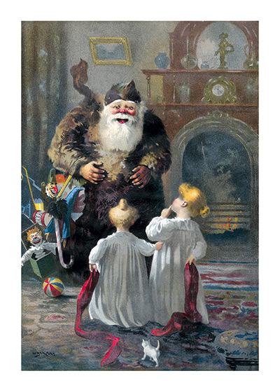 Santa Meeting The Children These prints are made at our location in Seattle, WA. They have a thick, white backing board and are sealed in clear bags. Each is suitable for framing at 11 inches x 14 inches or can be used as is for wall display. Our goal is to bring back to life these wonderful illustrations from old-fashioned, children's books and from early advertising art.