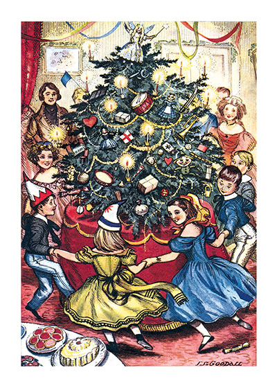 Dancing Around the Christmas Tree These prints are made at our location in Seattle, WA. They have a thick, white backing board and are sealed in clear bags. Each is suitable for framing at 11 inches x 14 inches or can be used as is for wall display. Our goal is to bring back to life these wonderful illustrations from old-fashioned, children's books and from early advertising art.