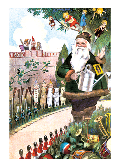 Santa in his Garden These prints are made at our location in Seattle, WA. They have a thick, white backing board and are sealed in clear bags. Each is suitable for framing at 11 inches x 14 inches or can be used as is for wall display. Our goal is to bring back to life these wonderful illustrations from old-fashioned, children's books and from early advertising art.