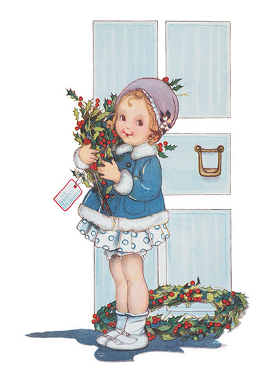 Girl With Christmas Wreath And Holly These prints are made at our location in Seattle, WA. They have a thick, white backing board and are sealed in clear bags. Each is suitable for framing at 11 inches x 14 inches or can be used as is for wall display. Our goal is to bring back to life these wonderful illustrations from old-fashioned, children's books and from early advertising art.