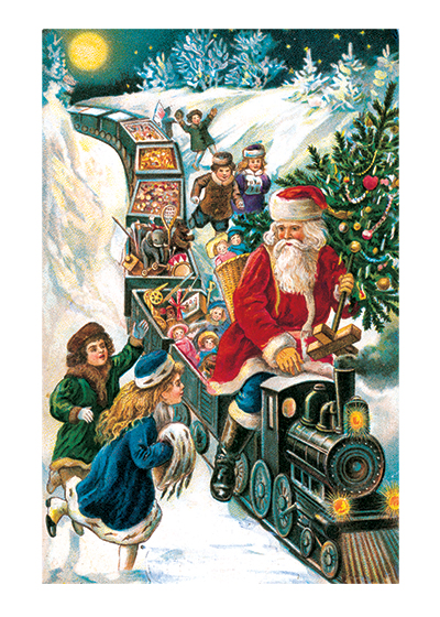 Santa Bringing Toys on a Train These prints are made at our location in Seattle, WA. They have a thick, white backing board and are sealed in clear bags. Each is suitable for framing at 11 inches x 14 inches or can be used as is for wall display. Our goal is to bring back to life these wonderful illustrations from old-fashioned, children's books and from early advertising art.