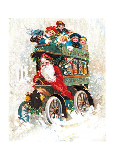 The Santa Bus These prints are made at our location in Seattle, WA. They have a thick, white backing board and are sealed in clear bags. Each is suitable for framing at 11 inches x 14 inches or can be used as is for wall display. Our goal is to bring back to life these wonderful illustrations from old-fashioned, children's books and from early advertising art.