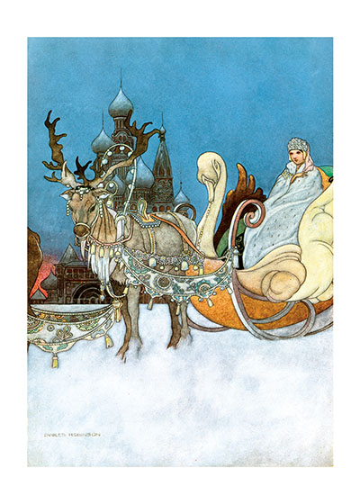Reindeer and Snow Queen  This lovely image of a princess in a reindeer sleigh has been one of our most popular images for many years.   Our blank notecards are custom printed at our location in Seattle, WA. They come bagged with an envelope. We love illustration art from old children's books and early, printed ephemera. These cards reflect this interest in bringing delightful art back to life.