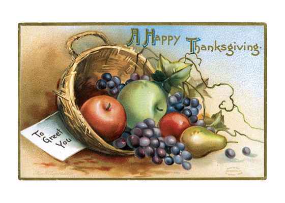 Thanksgiving Fruit Greeting  BLANK INSIDE  Our blank notecards are custom printed at our location in Seattle, WA. They come bagged with an envelope. We love illustration art from old children's books and early, printed ephemera. These cards reflect this interest in bringing delightful art back to life