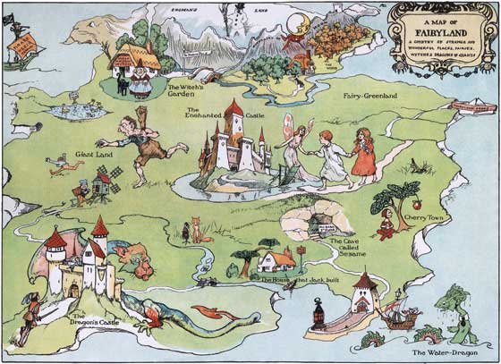 Map of Fairyland This print makes an ideal decoration for the room of a young child.  Alan Wright made the original in 1909.  He imaginatively shows us various nurseryland characters living together on a tantalizing island.  These prints are made at our location in Seattle, WA. They have a thick, white backing board and are sealed in clear bags. Each is suitable for framing at 11 inches x 14 inches or can be used as is for wall display. Our goal is to bring back to life these wonderful illustrations from old-fashioned, children's books and from early advertising art.