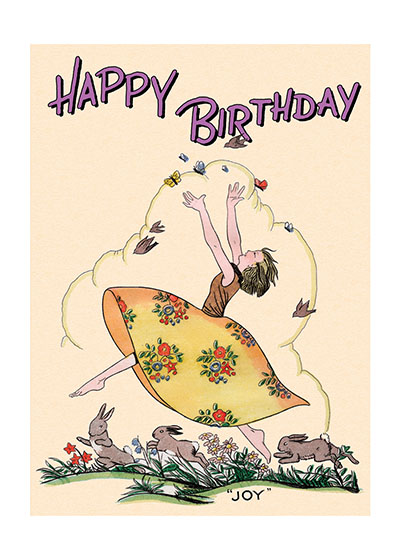 Joyous Girl With Rabbits  OUTSIDE GREETING: Happy Birthday  INSIDE GREETING:  May all your wishes come true.  This reproduction of an undated greeting card has a folk art quality, though  Our greeting cards are custom printed at our location in Seattle, WA. They come bagged with an envelope. We love illustration art from old children's books and early, printed ephemera. These cards reflect this interest in bringing delightful art back to life. it is surely commercial. This young lady's high spirits as she leaps with her animal friends is infectious and most appropriate for birthday greetings.