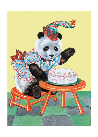 Birthday Panda  BLANK INSIDE  Our blank notecards are custom printed at our location in Seattle, WA. They come bagged with an envelope. We love illustration art from old children's books and early, printed ephemera. These cards reflect this interest in bringing delightful art back to life.