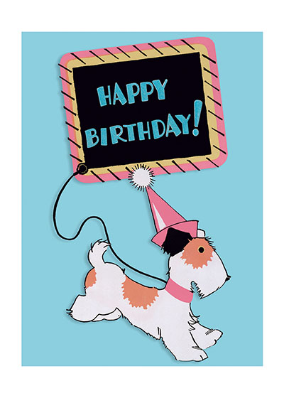 Terrier in Party Hat  INSIDE GREETING:  Celebrate!  Printed in the USA on Recycled paper.