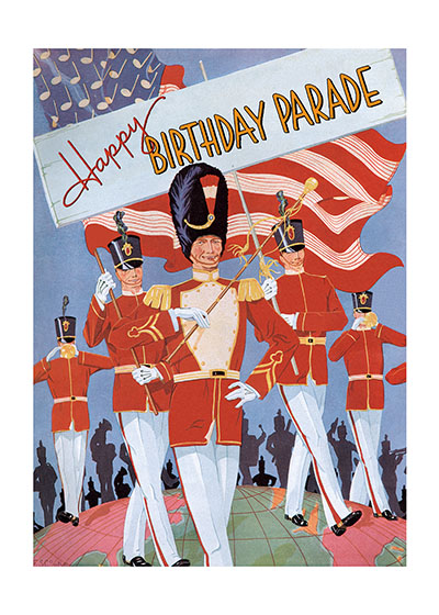Marching Band Birthday  BLANK INSIDE  Our blank notecards are custom printed at our location in Seattle, WA. They come bagged with an envelope. We love illustration art from old children's books and early, printed ephemera. These cards reflect this interest in bringing delightful art back to life.