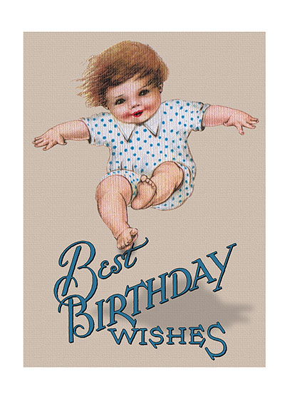 Jumping Baby  INSIDE GREETING:  It's a great day to celebrate.  Printed in the USA on Recycled paper.