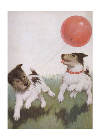 Running Dogs With A Balloon  INSIDE GREETING: Happy Birthday!  This c. 1920 magazine illustration of two terriers scampering with a balloon is a fine example of the beautiful illustrations that were common in American magazines of that era.  Our greeting cards are custom printed at our location in Seattle, WA. They come bagged with an envelope. We love illustration art from old children's books and early, printed ephemera. These cards reflect this interest in bringing delightful art back to life.