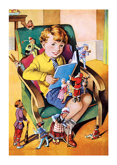 A Boy Reading to His Toys | Books and Readers Greeting Cards