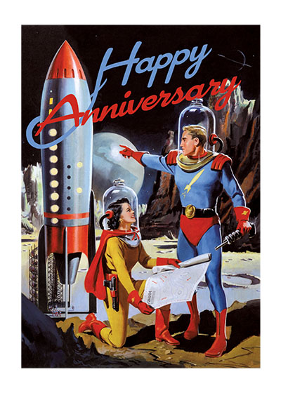 Man and Woman Astronauts  OUTSIDE GREETING:  Happy Anniversary!  INSIDE GREETING: I'd follow you to the end of the universe.  Tran Mawicke was a mid-century illustrator of great charm and versatility. This astronaut couple reflects his era's interest in the space race. Their space suits and rocket are wonderfully stylish, if not strictly realistic.  Our greeting cards are custom printed at our location in Seattle, WA. They come bagged with an envelope. We love illustration art from old children's books and early, printed ephemera. These cards reflect this interest in bringing delightful art back to life.