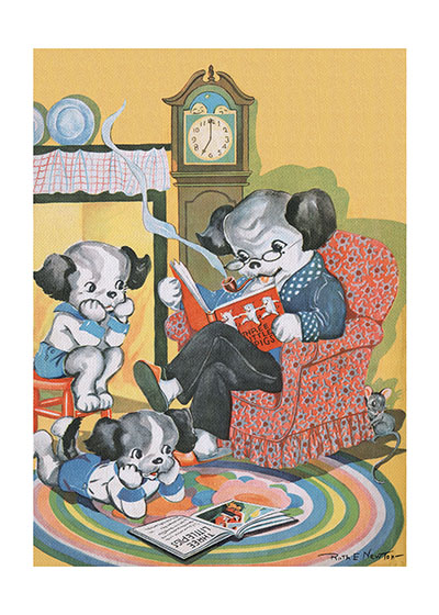 Dog Family Reading Art Print | Delightful Dogs Animals Art Prints These prints are made at our location in Seattle, WA. They have a thick, white backing board and are sealed in clear bags. Each is suitable for framing at 11 inches x 14 inches or can be used as is for wall display. Our goal is to bring back to life these wonderful illustrations from old-fashioned, children'sbooks and from early advertising art.