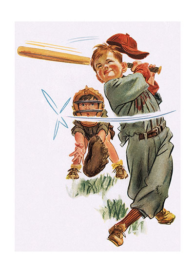 Swing for the Fences Boys Playing Baseball | Encouragement Greeting Cards