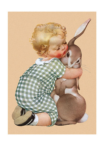 Boy Hugging Rabbit These prints are made at our location in Seattle, WA. They have a thick, white backing board and are sealed in clear bags. Each is suitable for framing at 11 inches x 14 inches or can be used as is for wall display. Our goal is to bring back to life these wonderful illustrations from old-fashioned, children'sbooks and from early advertising art.
