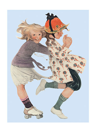 Girls Roller Skating  BLANK INSIDE  Our blank notecards are custom printed at our location in Seattle, WA. They come bagged with an envelope. We love illustration art from old children's books and early, printed ephemera. These cards reflect this interest in bringing delightful art back to life.