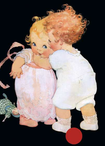 Two Babies Embracing  INSIDE GREETING:  To you dear friend - Love to the end.    Illustrator Torre Bevans work was featured in women's magazines in the 1910's and 1920's. She had a facility for depicting the domestic scene and children, as seen here in this delightful image of two sweetly stylized babies embracing.